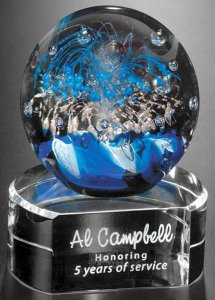 Glass Celebration Sphere Award on Clear Base 5""