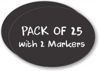 Twenty Five Pack Oval Chalkboard Badge (Blank) with Two Markers