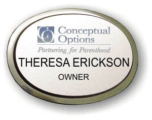 Conceptual Options Executive Oval Silver Badge