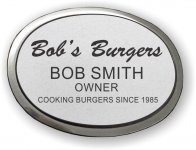 Engraved Oval Badge with Silver Metal Frame