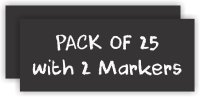 Twenty Five Pack Square Corner Chalkboard Badges (Blank) with Two Markers