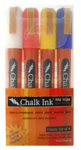 Chalk Ink Classic Set of 4 Wet Wipe Markers - 6mm