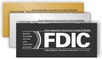 FDIC Self Adhesive Sign - Each depositor insured to at least $100,000