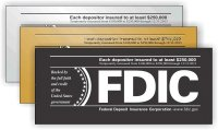 FDIC Self Adhesive Sign - Each depositor insured to at least $250,000