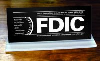 FDIC Slant Base Sign - Each depositor insured to at least $250,000