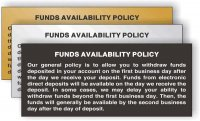 Funds Availability Policy Sign