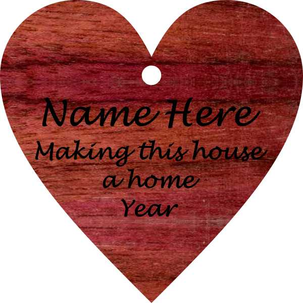 Heart/ Make This House a Home Purpleheart Wood Ornament - Click Image to Close