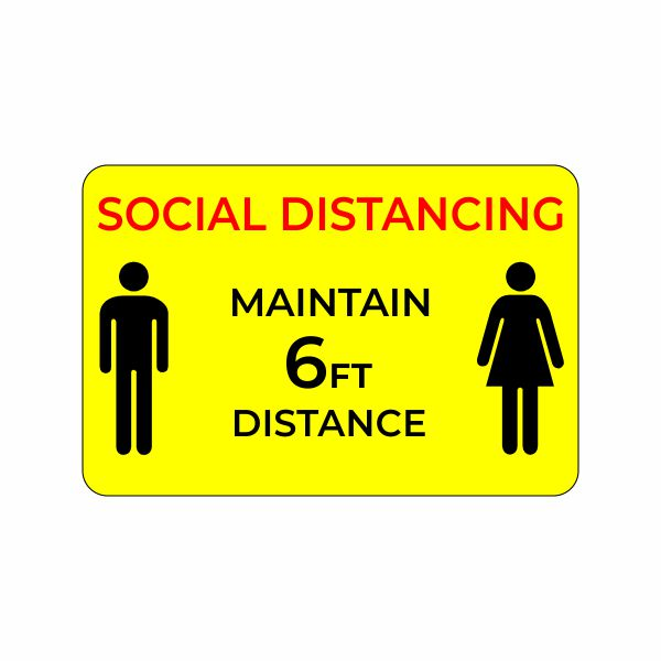 Social Distancing Yellow Badge with Magnetic Fastener - Click Image to Close