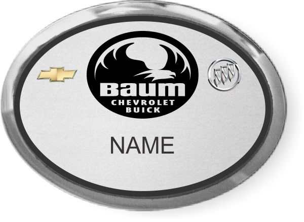 Baum Chevrolet Buick Oval Executive Silver Badge 13 52 Nicebadge