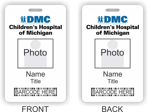 DMC Children's Hospital of Michigan Barcode ID Vertical Double Sided badge