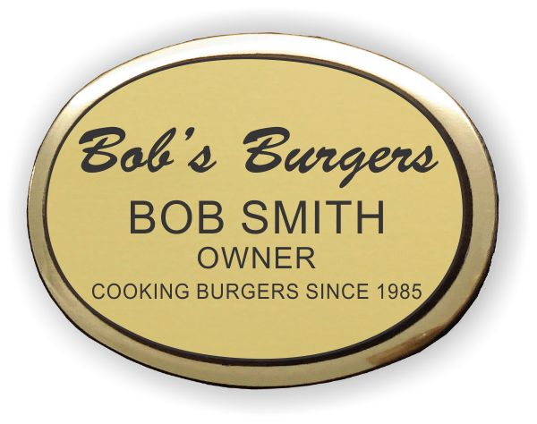 Engraved Oval Badge With Gold Metal Frame 1595 Custom Name
