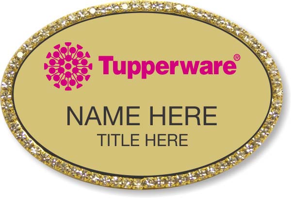 Tupperware Pink Logo Oval Gold Bling Badge
