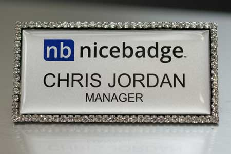 Silver Bling Name Badge