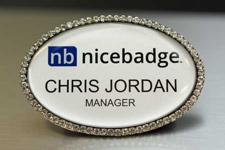 Oval Silver Bling Name Badge