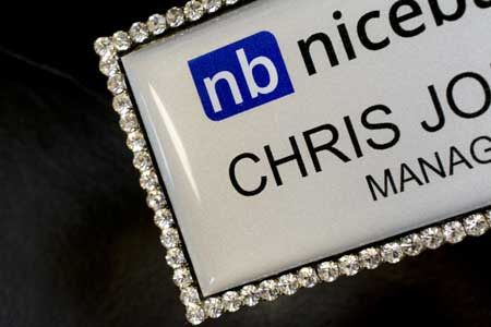 Jeweled Bling Name Badge Corner Shot