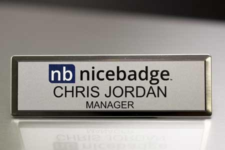 Small Silver Executive Name Badge