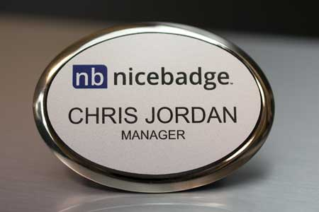 Oval Silver Executive Name Badge