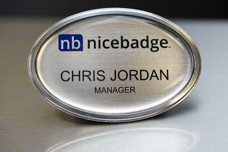 Oval Silver Prestige Name Badge