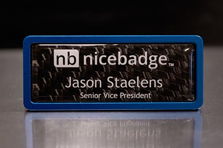 Satin Blue Prestige Name Badge