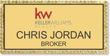 Gold Bling Large Executive Name Badge