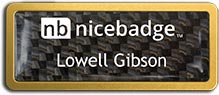 Gold Anodized Frame with Carbon Fiber Insert Name Badge