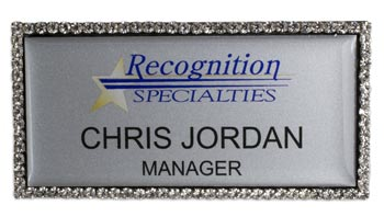 180 Bling name badge view