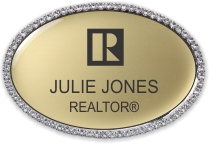 Luxury Swarovski Crystal Oval Name Badge