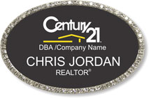 Silver Bling Oval Executive Name Badge