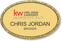 Gold Bling Oval Executive Name Badge