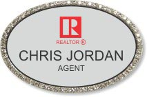 Black Bling Oval Executive Name Badge