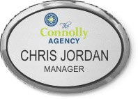 Silver Oval Executive Name Badge