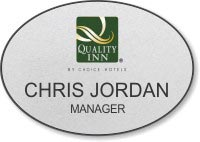 Silver Shaped Oval Name Badge