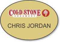 Gold Shaped Oval Name Badge