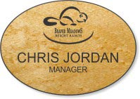 Oval Light Wood Name Badge