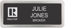 Satin Silver Prestige Name Badge