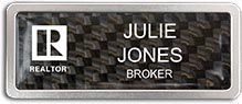 Satin Anodized Frame with Carbon Fiber Insert Name Badge