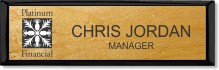 Small Executive Light Wood Name Badge