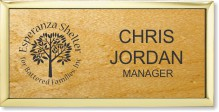 Large Rosewood Wood Executive Name Badge