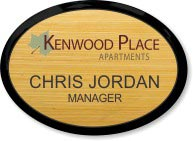 Light Bamboo Wood Oval Executive Name Badge