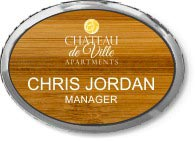 Maple Wood Oval Executive Name Badge