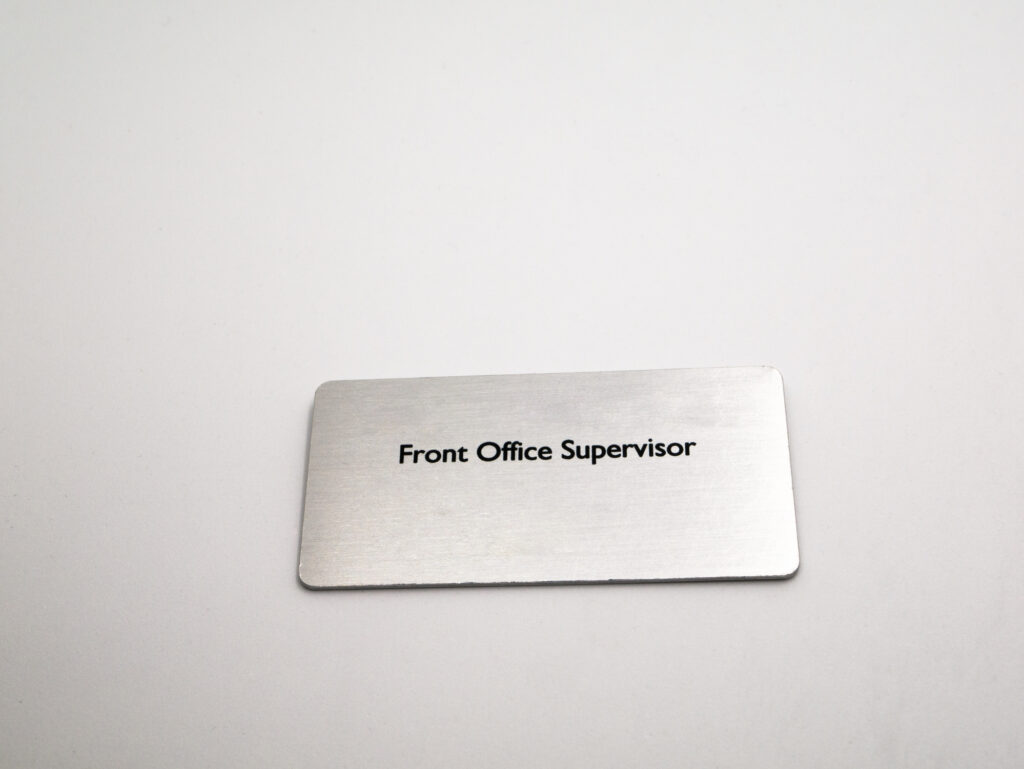 metal engraved name badge
